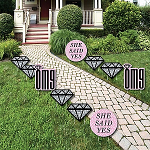 OMG, You're Getting Married! - Diamond Ring Lawn Decorations - Outdoor Engagement Party Yard Decorations - 10 Piece