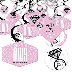 OMG, You're Getting Married! - Engagement Party Hanging Decor - Party Decoration Swirls - Set of 40