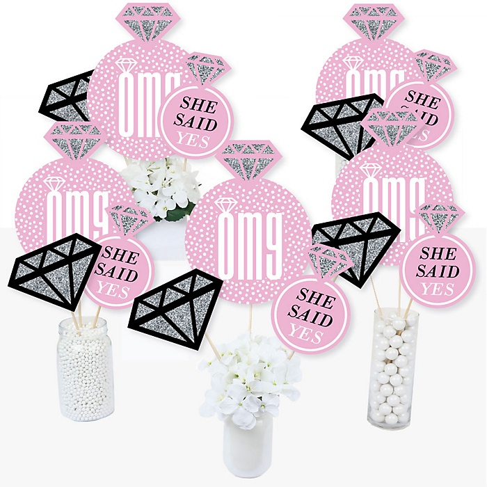 OMG, You're Getting Married! - Engagement Party Centerpiece Sticks - Table Toppers - Set of 15