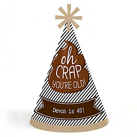Oh Crap, You're Old! - Personalized Cone Happy Birthday Party Hats for Kids and Adults - Set of 8 (Standard Size)