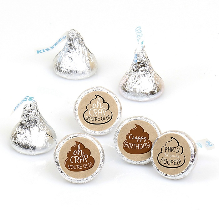 Oh Crap, You're Old! - Round Candy Labels Poop Birthday Party Favors - Fits Hershey's Kisses - 108 ct