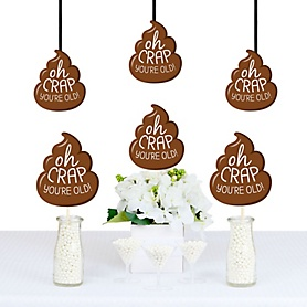 Oh Crap, You're Old! - Poop Emoji Shaped Decorations - DIY Poop Birthday Party Essentials - Set of 20