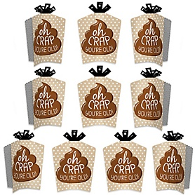 Oh Crap, You're Old! - Table Decorations - Poop Birthday Party Fold and Flare Centerpieces - 10 Count