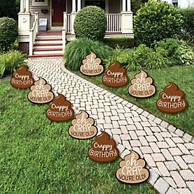 Oh Crap, You're Old! - Poop Lawn Decorations - Outdoor Poop Birthday Party Yard Decorations - 10 Piece