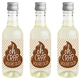 Oh Crap, You're Old! - Mini Wine and Champagne Bottle Label Stickers - Poop Birthday Party Favor Gift for Women and Men - Set of 16