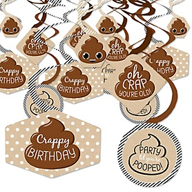 Oh Crap, You're Old! - Poop Birthday Party Hanging Decor - Party Decoration Swirls - Set of 40