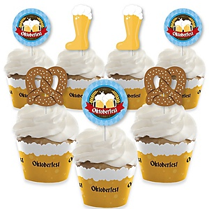 Oktoberfest - Cupcake Decoration - German Beer Festival Cupcake Wrappers and Treat Picks Kit - Set of 24