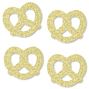 Gold Glitter Pretzel - No-Mess Real Gold Glitter Cut-Outs - German Beer Festival Confetti - Set of 24