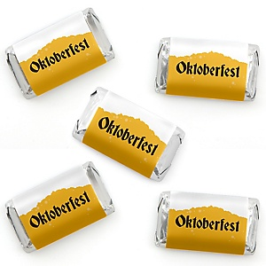 Oktoberfest - Mini Candy Bar Wrapper Stickers - German Beer Festival Small Favors - 40 Count