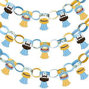 Oktoberfest - 90 Chain Links and 30 Paper Tassels Decoration Kit - German Beer Festival Paper Chains Garland - 21 feet