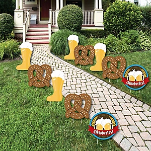 Oktoberfest - Pretzel and Beer Lawn Decorations - Outdoor Oktoberfest Party Yard Decorations - 10 Piece