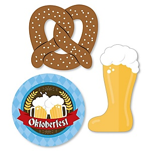 Oktoberfest - DIY Shaped German Beer Festival Paper Cut-Outs - 24 ct