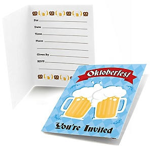 Oktoberfest - Fill In German Beer Festival Party Invitations - 8 ct