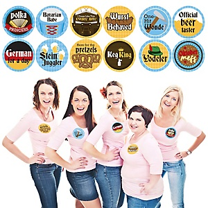 Oktoberfest - German Beer Festival Funny Name Tags - Party Badges Sticker Set of 12
