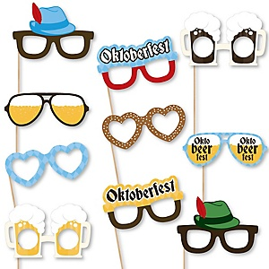 Oktoberfest Glasses – Paper Card Stock Oktoberfest or German Beer Festival Party Photo Booth Props Kit – 10 Count