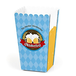 Oktoberfest - Personalized German Beer Festival Party Popcorn Favor Treat Boxes - Set of 12