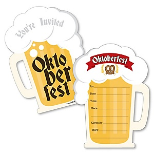 Oktoberfest - Shaped Fill-In Invitations - German Beer Festival Party Invitation Cards with Envelopes - Set of 12