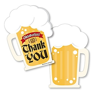 Oktoberfest - Shaped Thank You Cards - German Beer Festival Thank You Note Cards with Envelopes - Set of 12