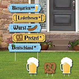 Oktoberfest - Street Sign Cutouts - German Beer Festival Party Yard Signs & Decorations - Set of 8