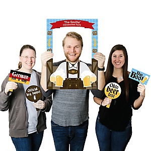 Oktoberfest - Personalized German Beer Festival Party Selfie Photo Booth Picture Frame & Props - Printed on Sturdy Material