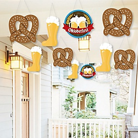 Hanging Oktoberfest - Outdoor German Beer Festival Party Hanging Porch & Tree Yard Decorations - 10 Pieces