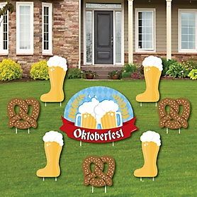 Oktoberfest - Yard Sign & Outdoor Lawn Decorations - German Beer Festival Party Yard Signs - Set of 8