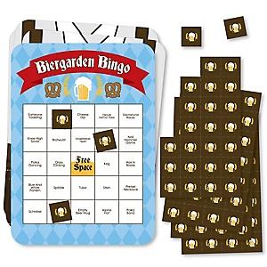Oktoberfest - Bingo Cards and Markers - German Beer Festival Bingo Game - Set of 18