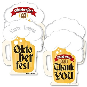 Oktoberfest - 20 Shaped Fill-In Invitations and 20 Shaped Thank You Cards Kit - German Beer Festival Stationery Kit - 40 Pack