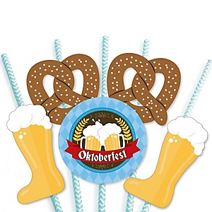 Oktoberfest - Paper Straw Decor - German Beer Festival Party Striped Decorative Straws - Set of 24