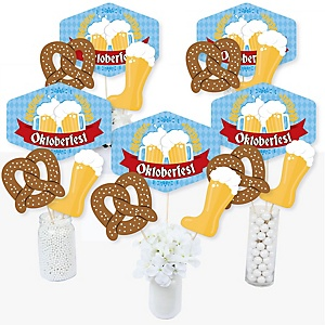 Oktoberfest - German Beer Festival Centerpiece Sticks - Table Toppers - Set of 15