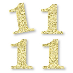 Gold Glitter 1 - No-Mess Real Gold Glitter Cut-Out Numbers - 1st Birthday Party Confetti - Set of 24