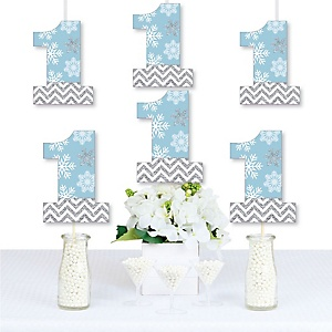 ONEderland - One Shaped Decorations DIY Snowflake Winter Wonderland First Birthday Party Essentials - Set of 20