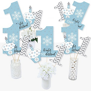 ONEderland - Snowflake Winter Wonderland First Birthday Party Centerpiece Sticks - Table Toppers - Set of 15