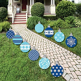 Blue and Silver Ornaments Lawn Decorations - Outdoor Holiday and Christmas Yard Decorations - 10 Piece