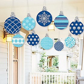 Hanging Blue and Silver Ornaments - Outdoor Holiday and Christmas Hanging Porch and Tree Yard Decorations - 10 Pieces