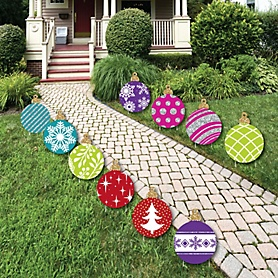 Colorful Ornaments Lawn Decorations - Outdoor Holiday and Christmas Yard Decorations - 10 Piece