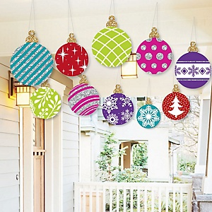 Hanging Colorful Ornaments - Outdoor Holiday and Christmas Hanging Porch and Tree Yard Decorations - 10 Pieces