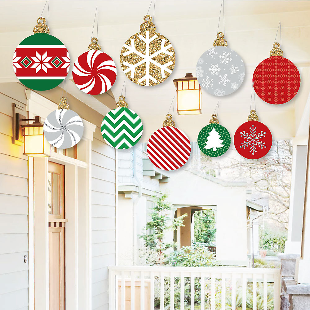 Hanging Ornaments Outdoor Holiday And Christmas Hanging Porch Tree Yard Decorations 10 Pieces