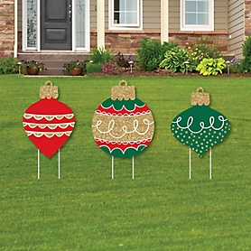 Ornaments - Outdoor Lawn Sign Decorations with Stakes - Holiday and Christmas Party Yard Display - 3 Pieces