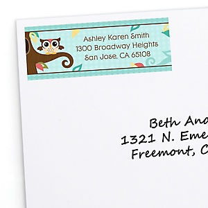 Owl - Look Whooo's Having A Baby - Personalized Baby Shower Return Address Labels - 30 ct