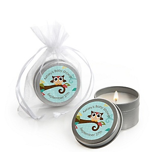 Owl - Look Whooo's Having A Baby - Personalized Baby Shower Candle Tin Favors - Set of 12