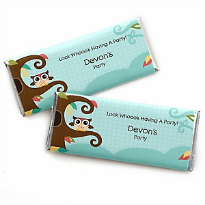 Owl - Look Whooo's Having A Party - Personalized Candy Bar Wrapper Baby Shower or Birthday Party Favors - Set of 24
