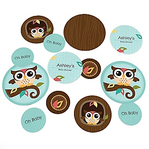 Owl - Look Whooo's Having A Baby - Personalized Baby Shower Table Confetti - 27 ct