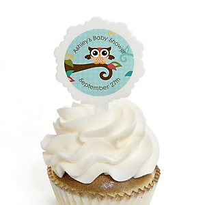 Owl - Look Whooo's Having A Baby - 12 Cupcake Picks & 24 Personalized Stickers - Baby Shower Cupcake Toppers