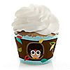 Owl - Look Whooo's Having A Baby - Baby Shower Decorations - Party Cupcake Wrappers - Set of 12