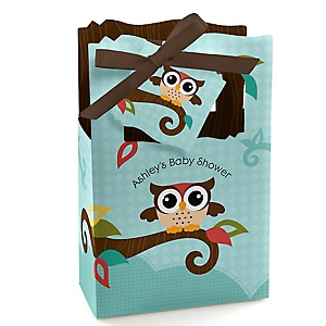 Owl - Look Whooo's Having A Baby - Personalized Baby Shower Favor Boxes - Set of 12