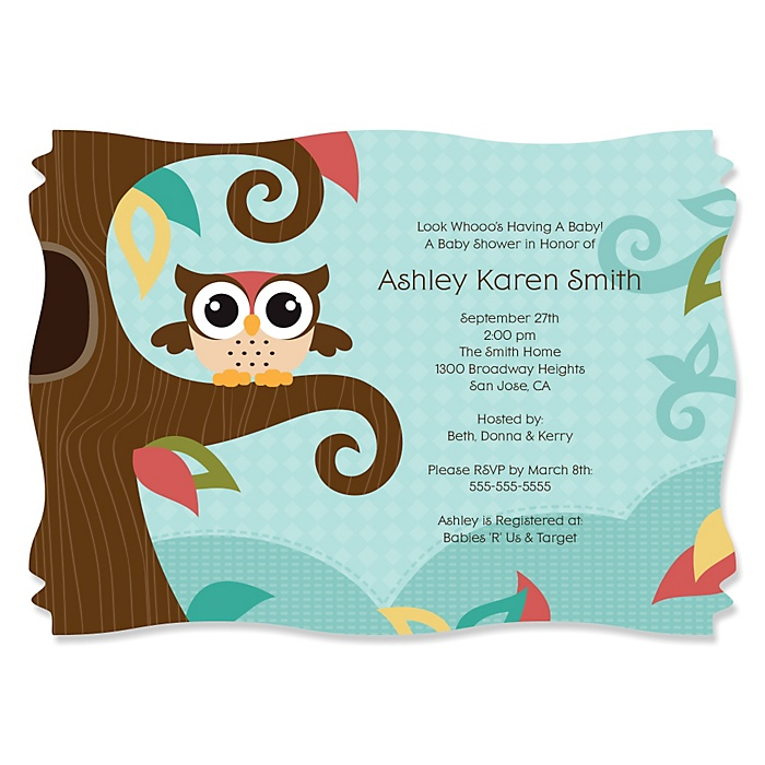 Owl - Look Whooo's Having A Baby - Personalized Baby Shower Invitations - Set of 12
