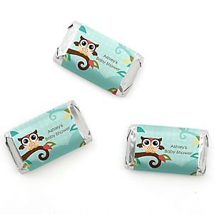 Owl - Look Whooo's Having A Baby - Personalized Baby Shower Mini Candy Bar Wrapper Favors - 20 ct