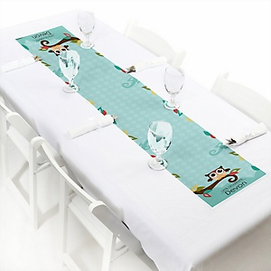 Owl - Look Whooo's Having A Baby - Personalized Party Petite Table Runner