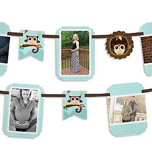 Owl - Look Whooo's Having A Baby - Baby Shower Photo Garland Banners